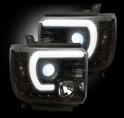 2014-17 GMC Sierra Smoked projector headlights w/ Smooth OLED Daytime Running Lights